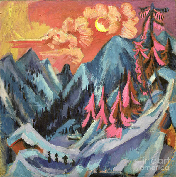 Winter Print featuring the painting Winter Landscape In Moonlight by Ernst Ludwig Kirchner
