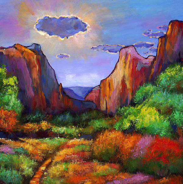 Southwest Landscapes Print featuring the painting Zion Dreams by Johnathan Harris