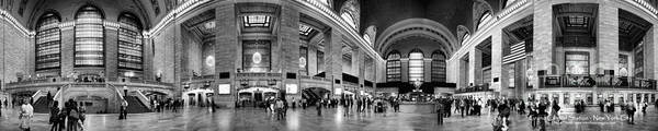 Panoramic Print featuring the photograph Black And White Pano Of Grand Central Station - Nyc by David Smith