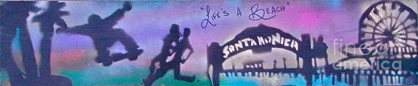 Graffiti Print featuring the painting Venice Beach To Santa Monica Purple by Tony B Conscious