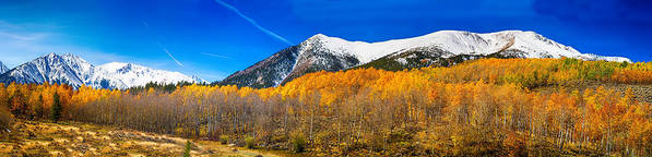 Snow Print featuring the photograph Colorado Rocky Mountain Independence Pass Autumn Panorama by James BO Insogna