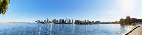 Vancouver Print featuring the digital art Panorama Of Vancouver Harbor by Jodi Jacobson