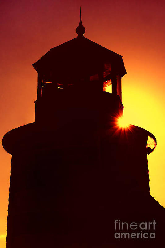 Lighthouse Print featuring the photograph Lighthouse Sunset by Joann Vitali