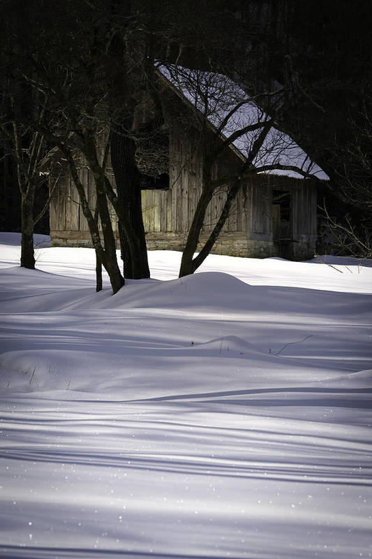 Barn Print featuring the photograph Winter Barn by Rob Travis