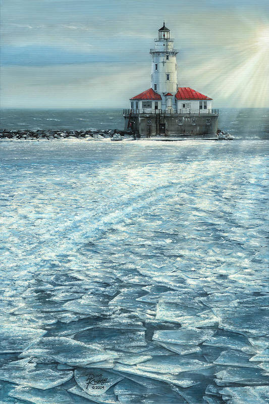Fine Art Print featuring the painting Harbor Light by Doug Kreuger