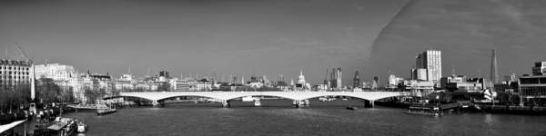Cleopatra's Needle Print featuring the photograph Thames Panorama Weather Front Clearing Bw by Gary Eason