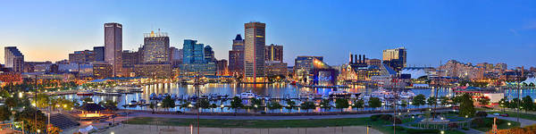 Baltimore Inner Harbor Skyline Print featuring the photograph Baltimore Skyline Inner Harbor Panorama At Dusk by Jon Holiday