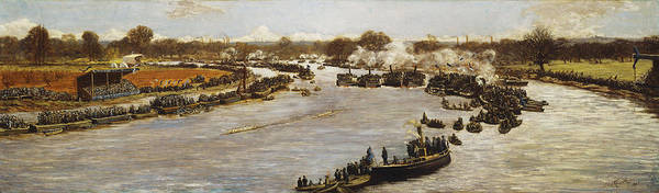 1880; 1880s; 1870s; 1879; 19th Century; 19th Century Painting; Artist British; Artist European; Artwork; Barge; Barges; Boat Race; British Artist; British & Irish Art; British Art; Crowd; Day; Daytime; Elevated; Elevated View; European Artist; Fine Art; Grandstand; Group; Human; Human Role; James Macbeth; Late 19th Century; Late Nineteenth Century; Large Group Of People; Large Group; Leisure & Pastimes; Looking; Macbeth; Meeting; Natural Space; Natural Phenomena; Nineteenth Century; Oil; Print featuring the painting The Oxford And Cambridge Boat Race by James Macbeth