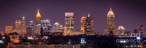 Atlanta Print featuring the photograph Atlanta Skyline At Night Downtown Midtown Color Panorama by Jon Holiday