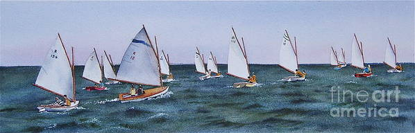 Sailboats Print featuring the painting Beetlecat Race by Karol Wyckoff