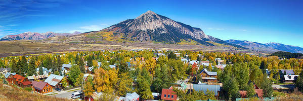 Autumn Print featuring the photograph City Of Crested Butte Colorado Panorama  by James BO Insogna