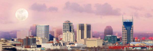 Nashville Skyline Print featuring the photograph Moon Over Nashville by Amy Tyler