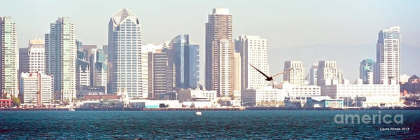 San Diego Harbor Print featuring the photograph Panoramic Image Of San Diego From The Harbor by Artist and Photographer Laura Wrede