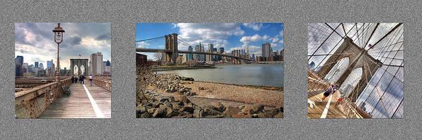Brooklyn Print featuring the photograph Brooklyn Bridge...triptych by Arkadiy Bogatyryov