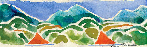 Mountains Print featuring the painting High Mountains And Meadows by Annie Alexander