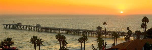 San Clemente Print featuring the photograph On Golden Pier by Gary Zuercher