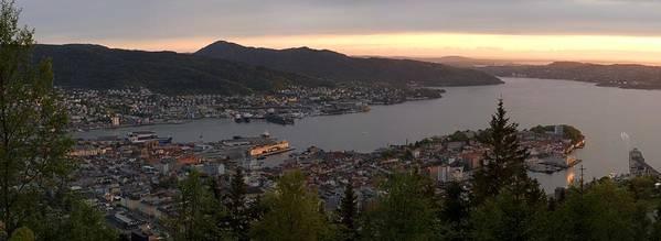 Panorama Print featuring the photograph Bergen Sunset Panorama by Benjamin Reed