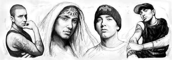 Eminem Art Drawing Sketch Poster Print featuring the painting Eminem Art Drawing Sketch Poster by Kim Wang