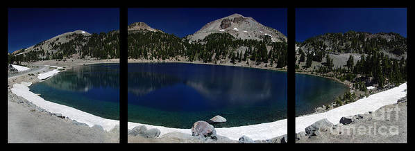 Mirror Print featuring the photograph Lake Helen At Mt Lassen Triptych by Peter Piatt