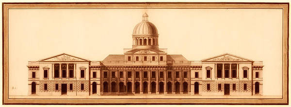 U.s.capitol Print featuring the drawing U.s. Capitol Design 1791 by Mountain Dreams