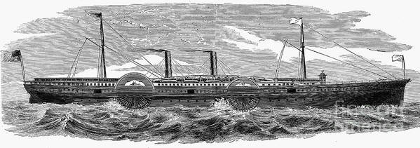 1867 Print featuring the photograph 4 Wheel Steamship, 1867 by Granger