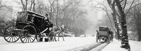 Weather Print featuring the photograph Central Park In Falling Snow by Axiom Photographic