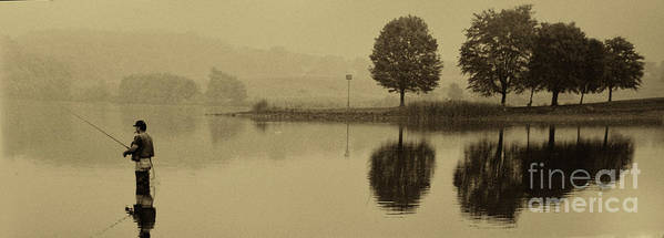 Fishing Print featuring the photograph Fishing At Marsh Creek State Park Pa. by Jack Paolini