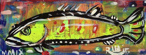 Rwjr Print featuring the painting Lil Funky Folk Fish Number Twelve by Robert Wolverton Jr