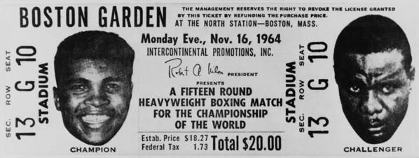 History Print featuring the photograph Ticket To World Championship Boxing by Everett