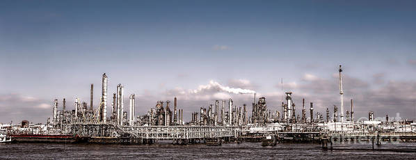 Oil Print featuring the photograph Oil Refinery by Olivier Le Queinec