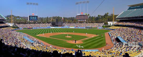 Dodgers Print featuring the photograph Dodger Stadium Panorama by Eddie Yerkish