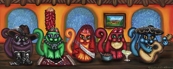 Folk Art Print featuring the painting Fiesta Cats Or Gatos De Santa Fe by Victoria De Almeida