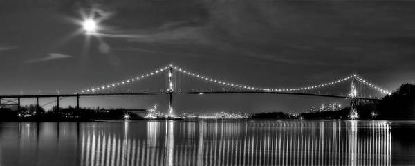 Lions Gate Bridge Print featuring the photograph Lions Gate Bridge Black And White by Naman Imagery