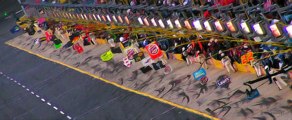 Nascar Print featuring the painting Pit Road by Kenneth Krolikowski