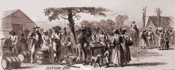 History Print featuring the photograph African American Freedmen Receiving by Everett