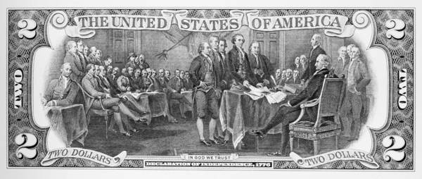 1776 Print featuring the photograph Currency: Two Dollar Bill by Granger
