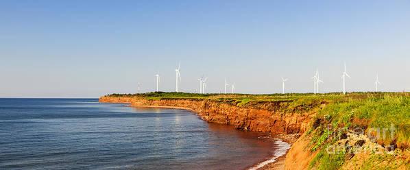 Windmills Print featuring the photograph Wind Turbines On Atlantic Coast by Elena Elisseeva