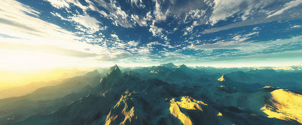 Mountains Print featuring the digital art Heavens Breath 16 by The Art of Marsha Charlebois