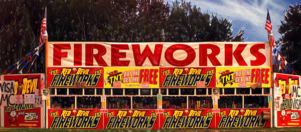 Fireworks Print featuring the photograph Fireworks by Ron Regalado