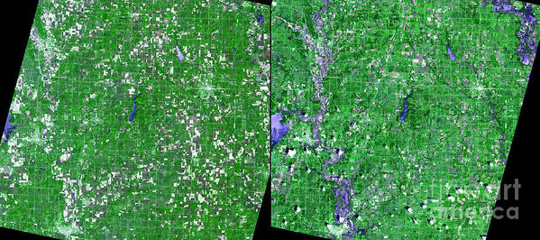 Flooding Print featuring the photograph Flooding In Kansas by Nasa