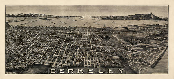 Berkeley Print featuring the drawing Antique Map Of Berkeley California By Charles Green - Circa 1909 by Blue Monocle