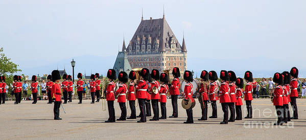 Quebec Print featuring the photograph Changing Of The Guard The Citadel Quebec City by Edward Fielding