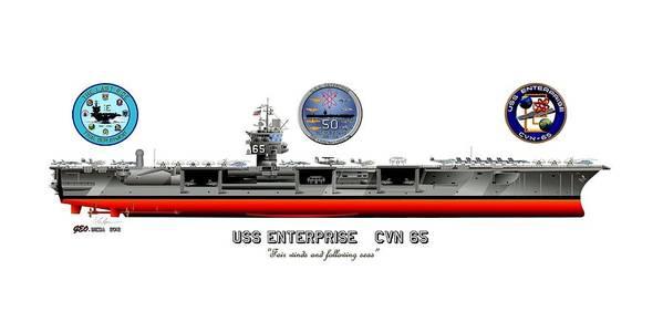 Uss Enterprise Cvn 65 2012 Print featuring the drawing Uss Enterprise Cvn 65 2012 by George Bieda