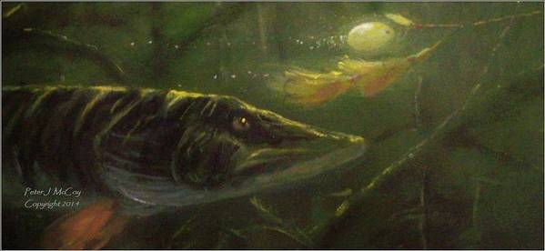 Musky Print featuring the painting Countdown - Musky by Peter McCoy