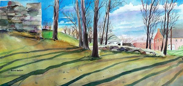 Millbury Print featuring the painting Long Shadows by Scott Nelson