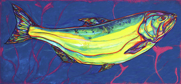 Salmon Print featuring the painting Salmon Of Knowledge by Derrick Higgins