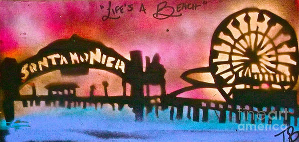 Graffiti Print featuring the painting Santa Monica Pier Red by Tony B Conscious