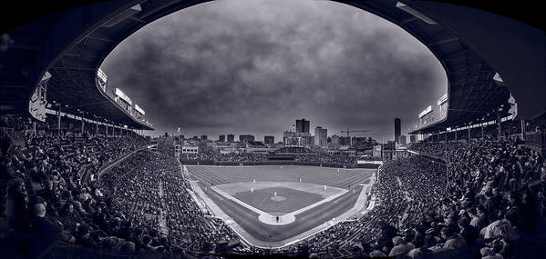 Cubs Print featuring the photograph Wrigley Field Night Game Chicago Bw by Steve Gadomski