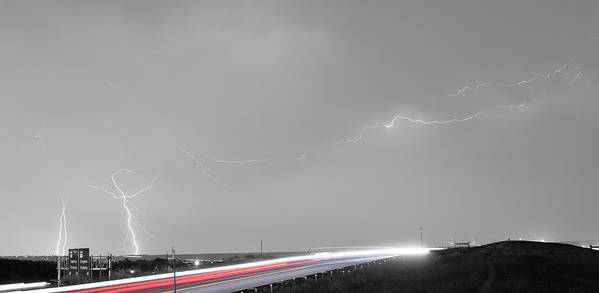 Lightning Print featuring the photograph 47 Street Lightning Storm Light Trails View Panorama by James BO Insogna