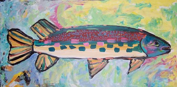 Fish Print featuring the painting Big Fish by Krista Ouellette